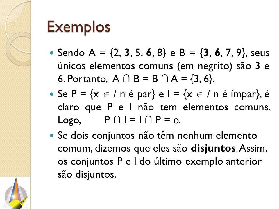 Exemplos Sendo A = {2, 3, 5, 6, 8} e B = {3, 6, 7, 9}, seus únicos elementos comuns (em negrito) são 3 e 6. Portanto, A ∩ B = B ∩ A = {3, 6}.