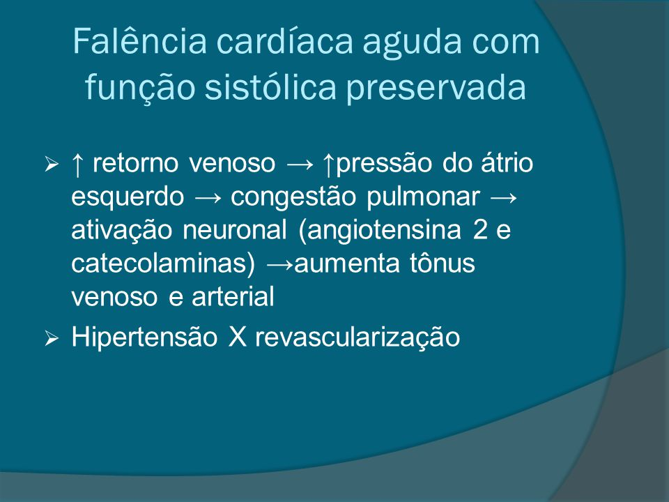 Falência cardíaca aguda com função sistólica preservada