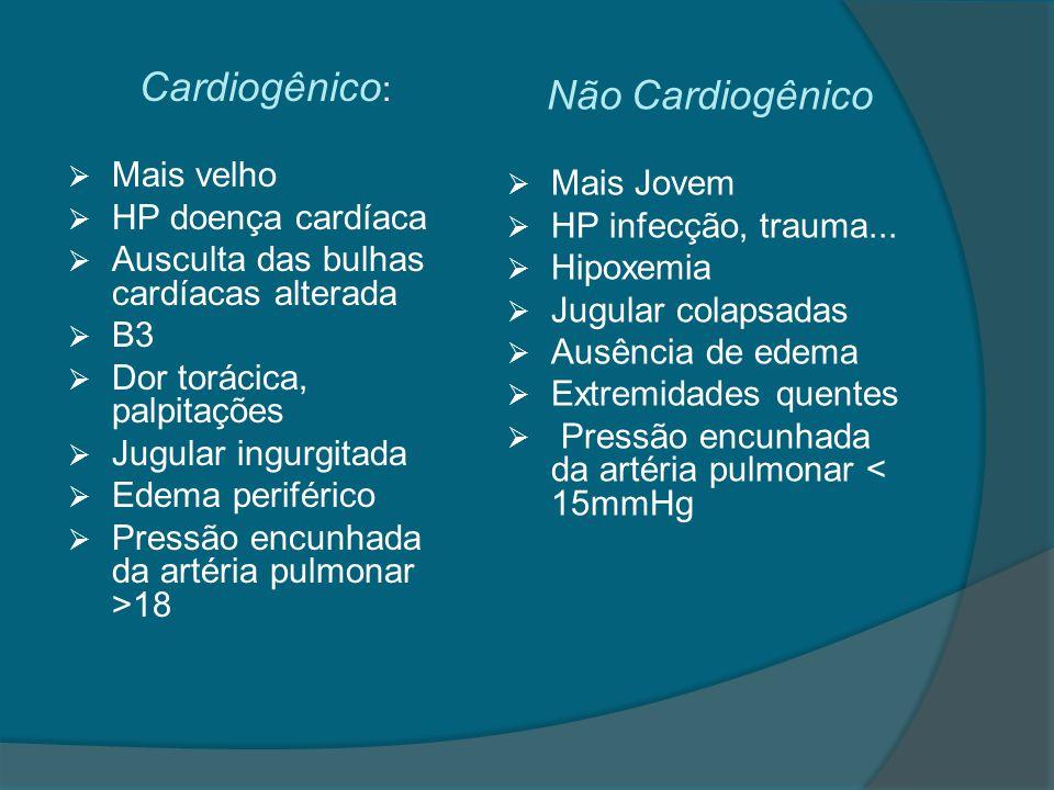 Cardiogênico: Não Cardiogênico Mais velho Mais Jovem