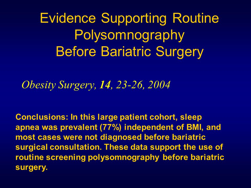 Evidence Supporting Routine Polysomnography Before Bariatric Surgery