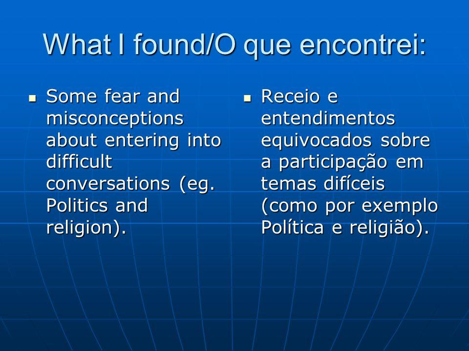 What I found/O que encontrei: