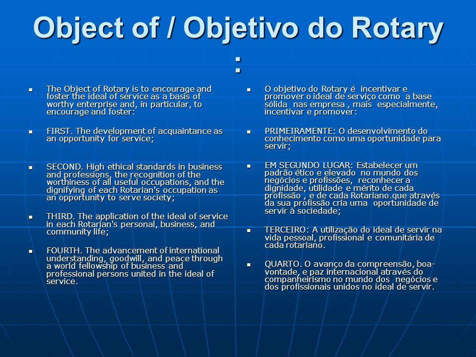 Object of / Objetivo do Rotary :