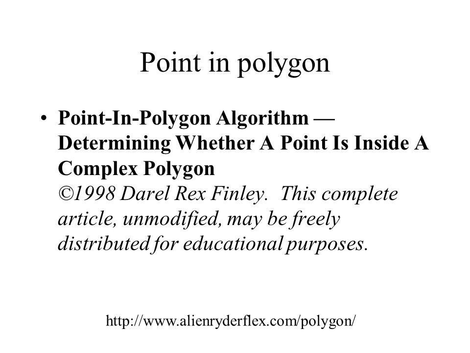 Point in polygon
