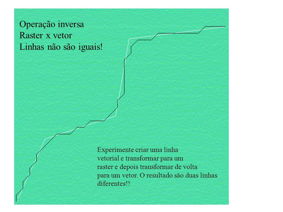 Operação inversa Raster x vetor Linhas não são iguais!