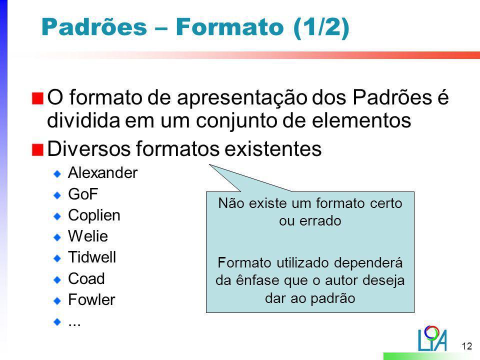 Padrões – Formato (1/2) O formato de apresentação dos Padrões é dividida em um conjunto de elementos.