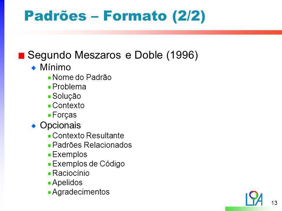 Padrões – Formato (2/2) Segundo Meszaros e Doble (1996) Mínimo