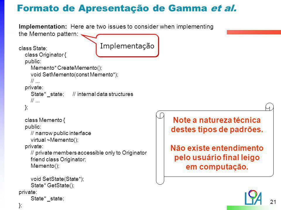 Formato de Apresentação de Gamma et al.