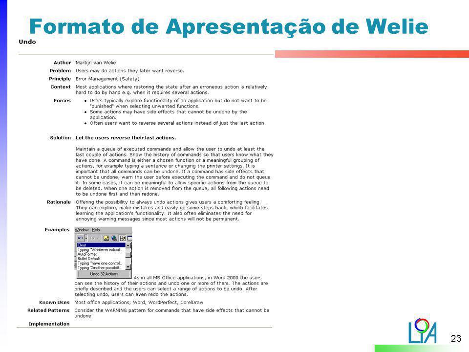 Formato de Apresentação de Welie