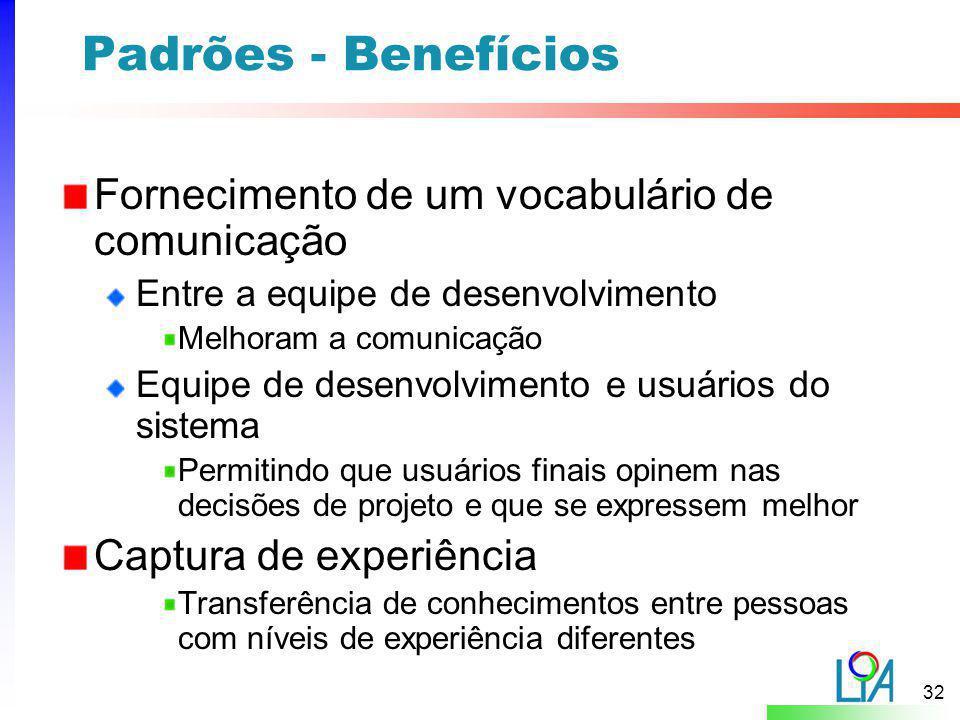Padrões - Benefícios Fornecimento de um vocabulário de comunicação