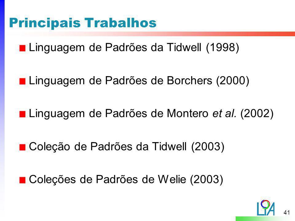 Principais Trabalhos Linguagem de Padrões da Tidwell (1998)