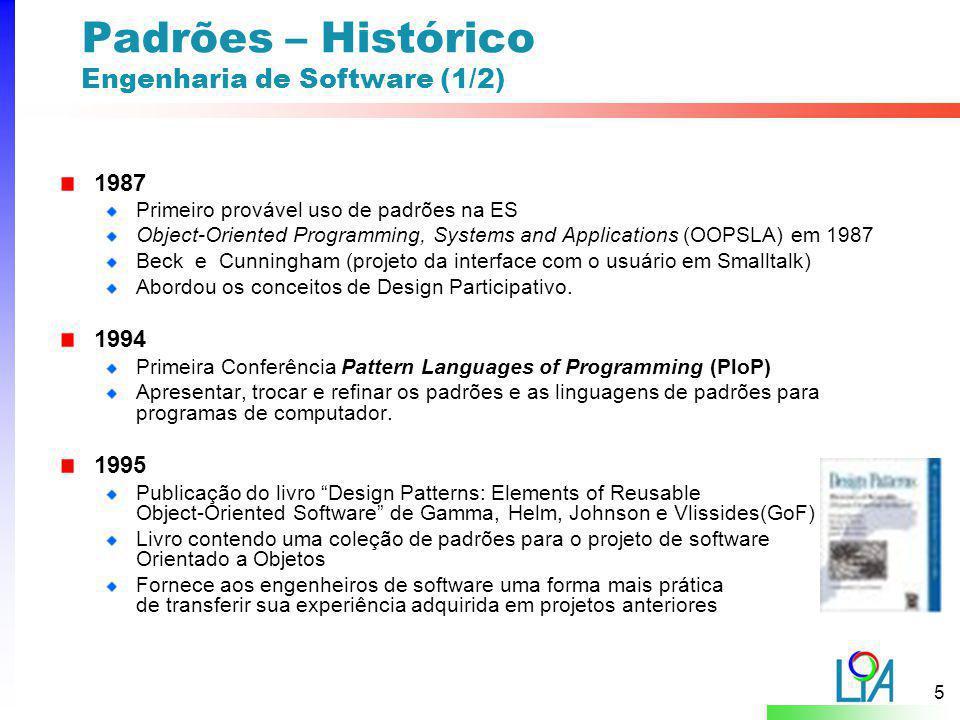 Padrões – Histórico Engenharia de Software (1/2)