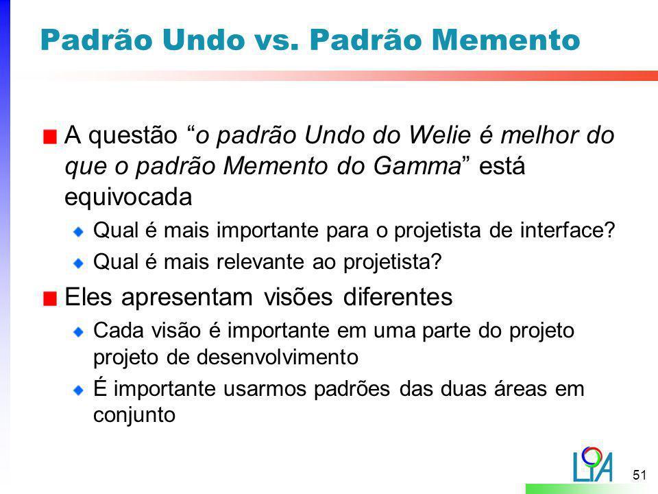 Padrão Undo vs. Padrão Memento