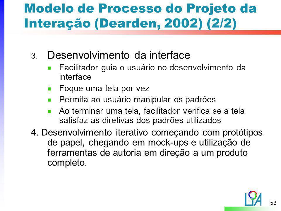 Modelo de Processo do Projeto da Interação (Dearden, 2002) (2/2)