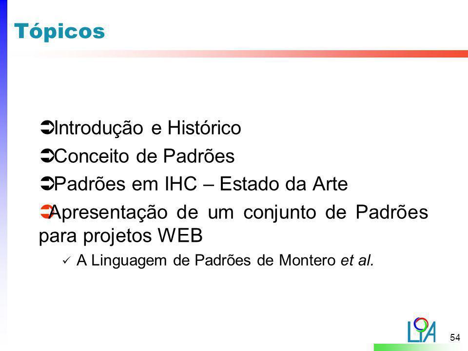Tópicos Introdução e Histórico Conceito de Padrões