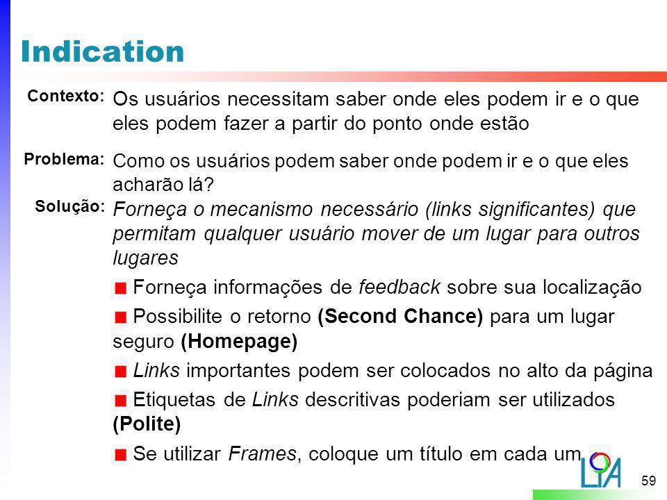 Indication Contexto: Os usuários necessitam saber onde eles podem ir e o que eles podem fazer a partir do ponto onde estão.
