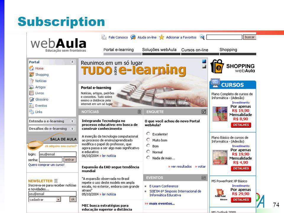 Subscription A Cor da linha dependerá da categoria a qual o padrão pertence, tipo: Web Sites level = Vermelho.