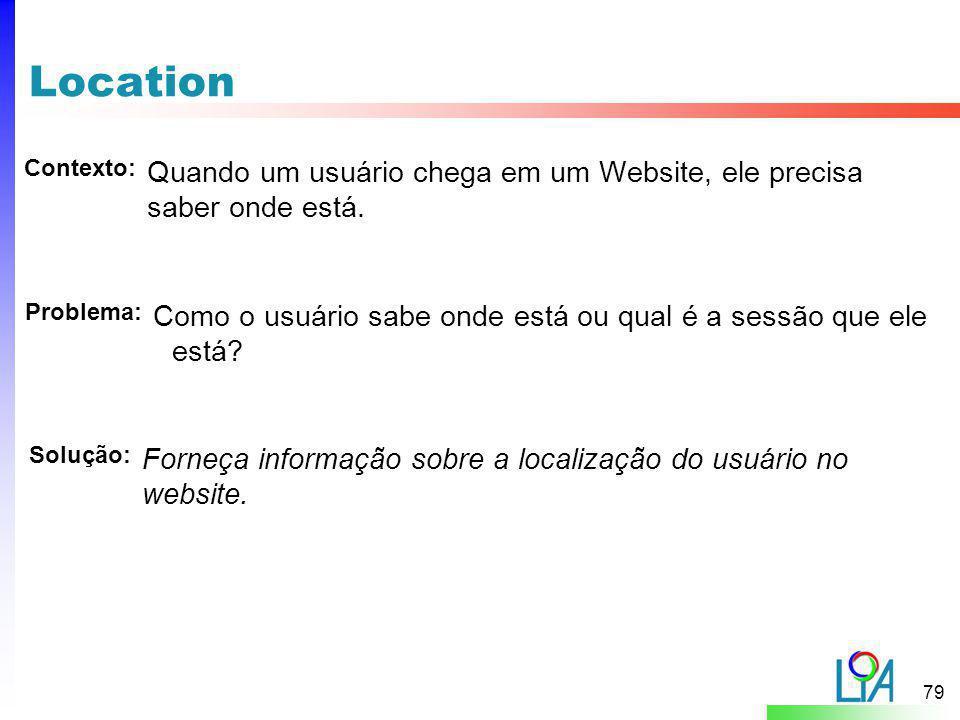 Location Contexto: Quando um usuário chega em um Website, ele precisa saber onde está. Problema: