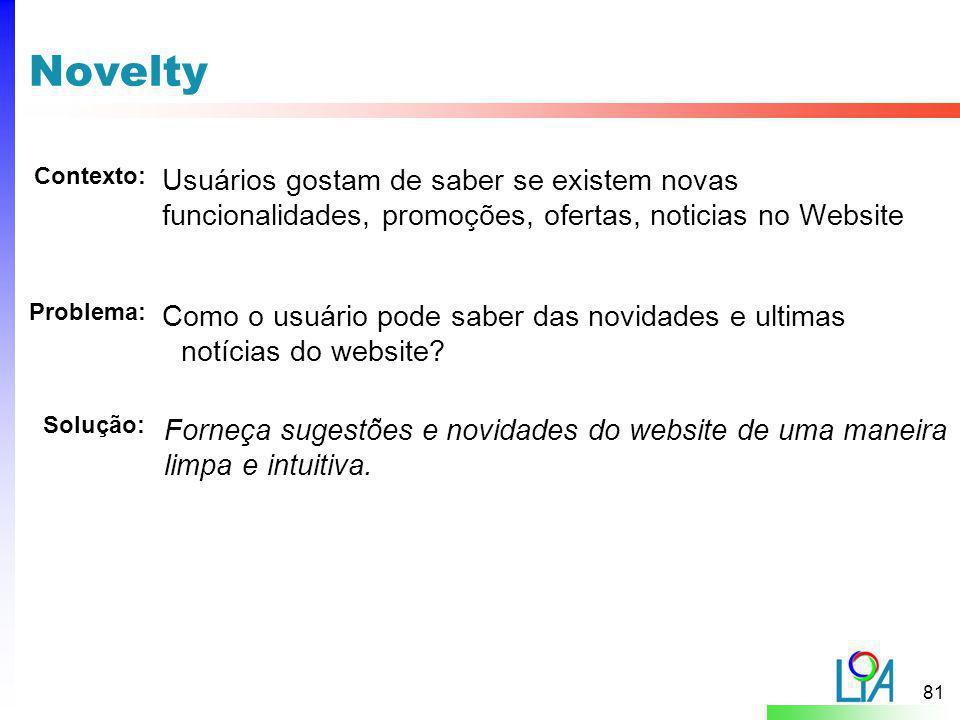 Novelty Contexto: Usuários gostam de saber se existem novas funcionalidades, promoções, ofertas, noticias no Website.