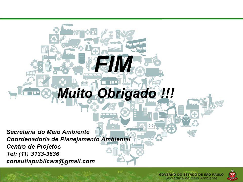 FIM Muito Obrigado !!! Secretaria do Meio Ambiente