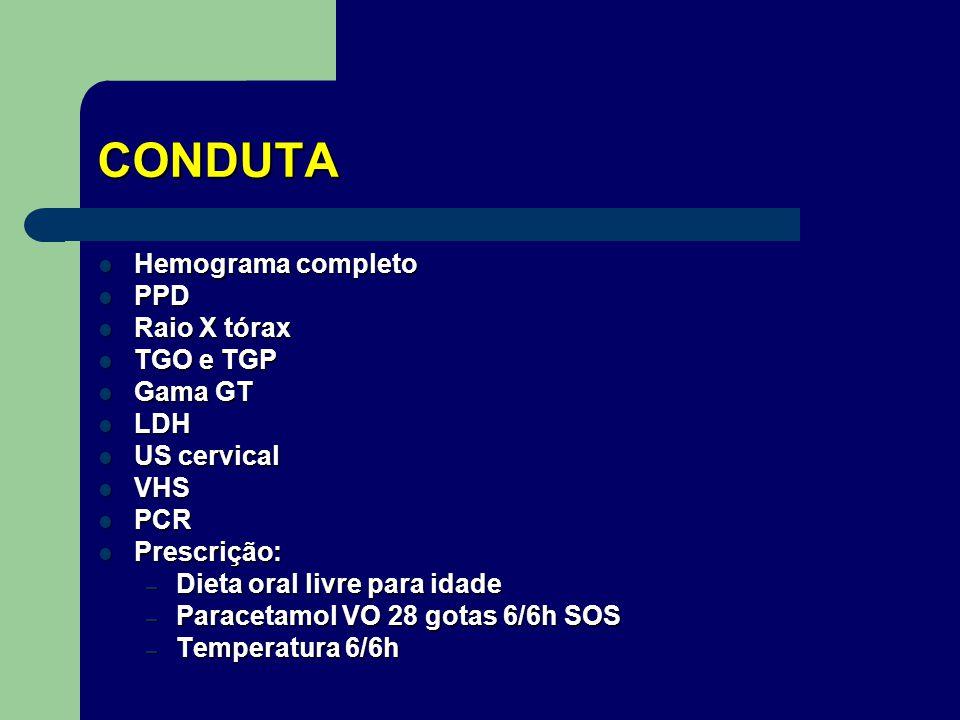 CONDUTA Hemograma completo PPD Raio X tórax TGO e TGP Gama GT LDH