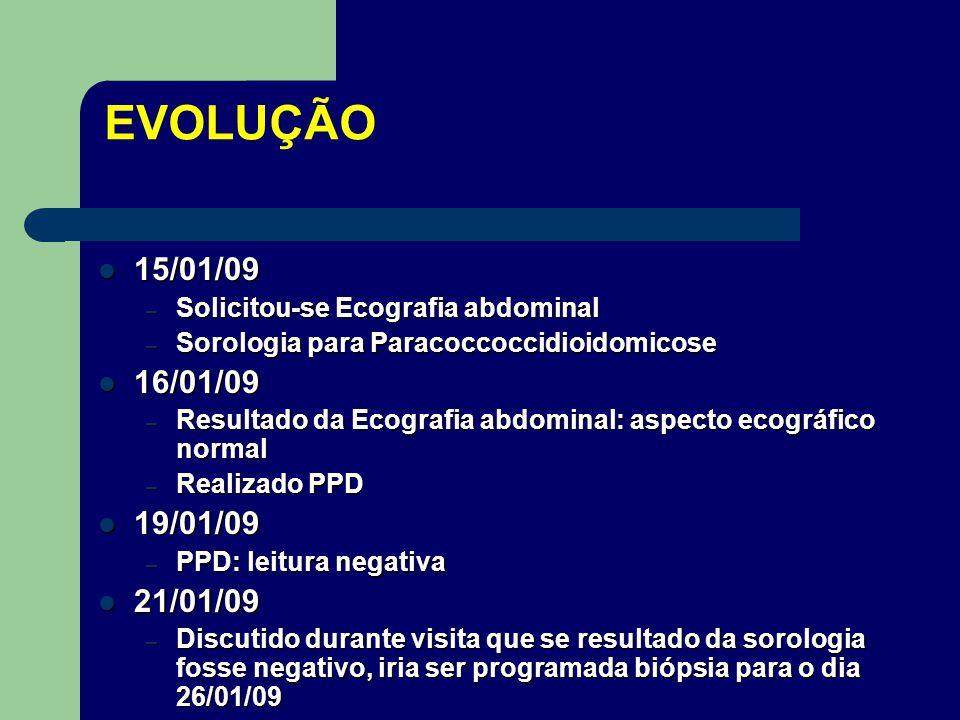 EVOLUÇÃO 15/01/09. Solicitou-se Ecografia abdominal. Sorologia para Paracoccoccidioidomicose. 16/01/09.