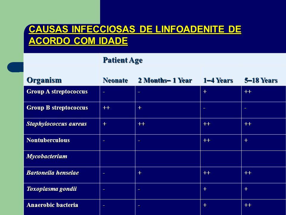 CAUSAS INFECCIOSAS DE LINFOADENITE DE ACORDO COM IDADE