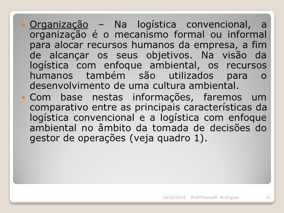 Organização – Na logística convencional, a organização é o mecanismo formal ou informal para alocar recursos humanos da empresa, a fim de alcançar os seus objetivos. Na visão da logística com enfoque ambiental, os recursos humanos também são utilizados para o desenvolvimento de uma cultura ambiental.