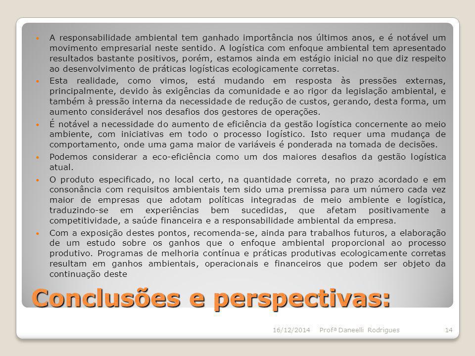 Conclusões e perspectivas: