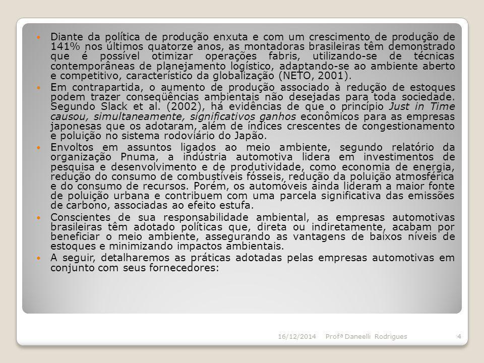 Diante da política de produção enxuta e com um crescimento de produção de 141% nos últimos quatorze anos, as montadoras brasileiras têm demonstrado que é possível otimizar operações fabris, utilizando-se de técnicas contemporâneas de planejamento logístico, adaptando-se ao ambiente aberto e competitivo, característico da globalização (NETO, 2001).