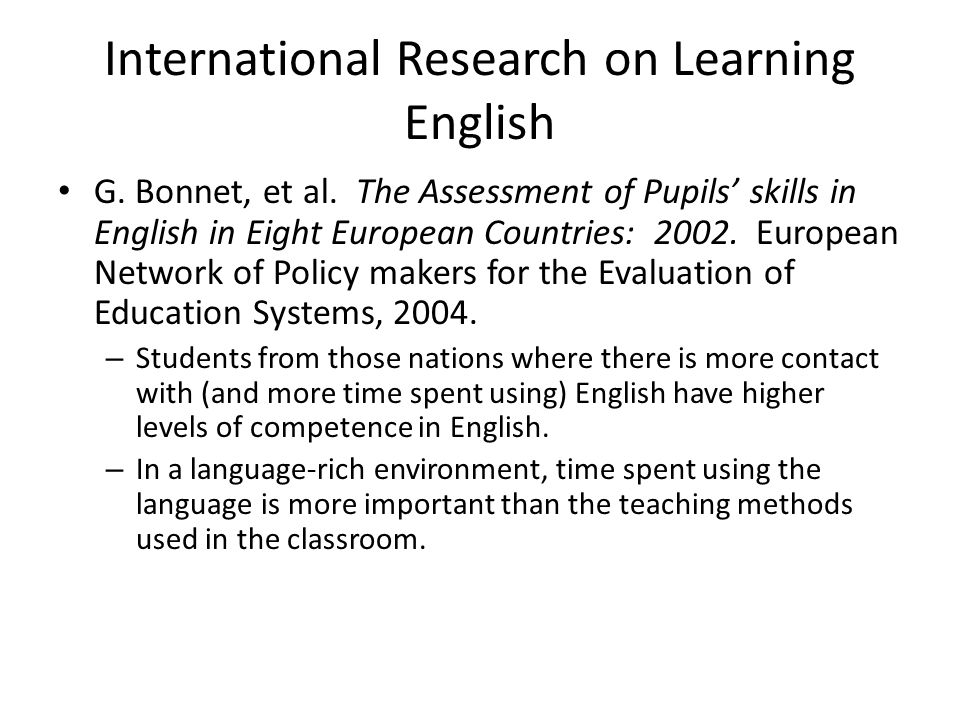 International Research on Learning English