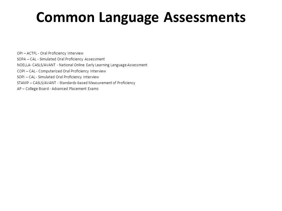 Common Language Assessments