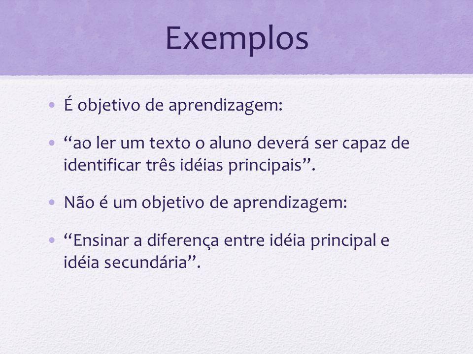 Exemplos É objetivo de aprendizagem: