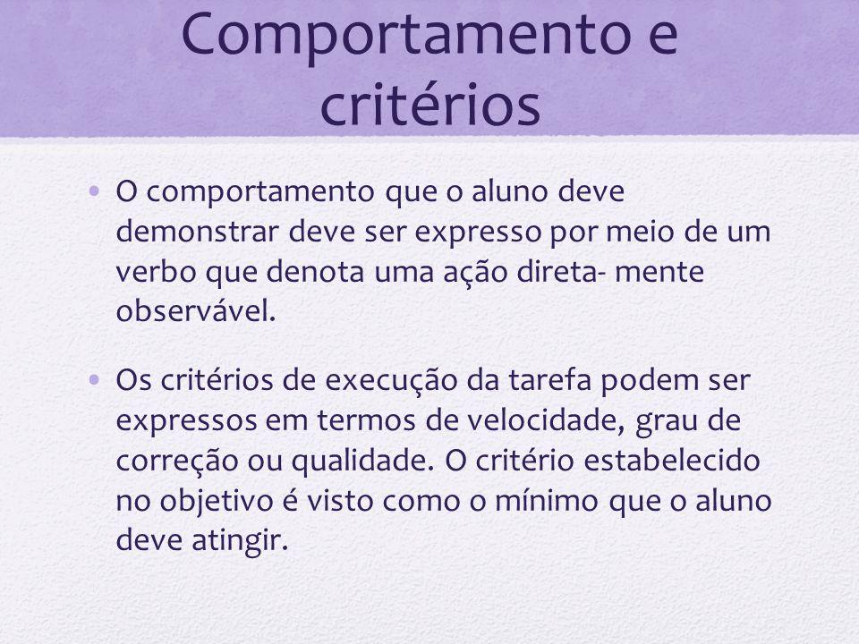 Comportamento e critérios