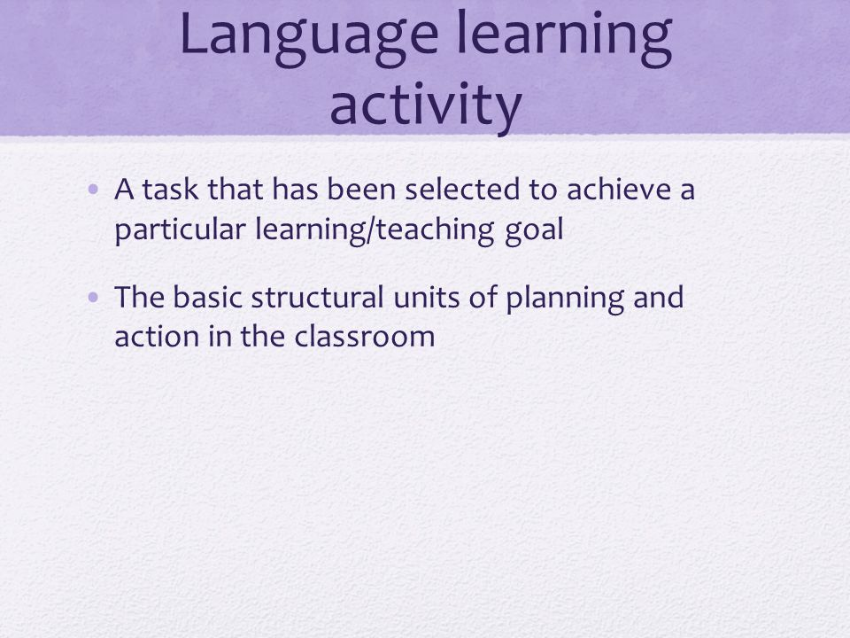Language learning activity