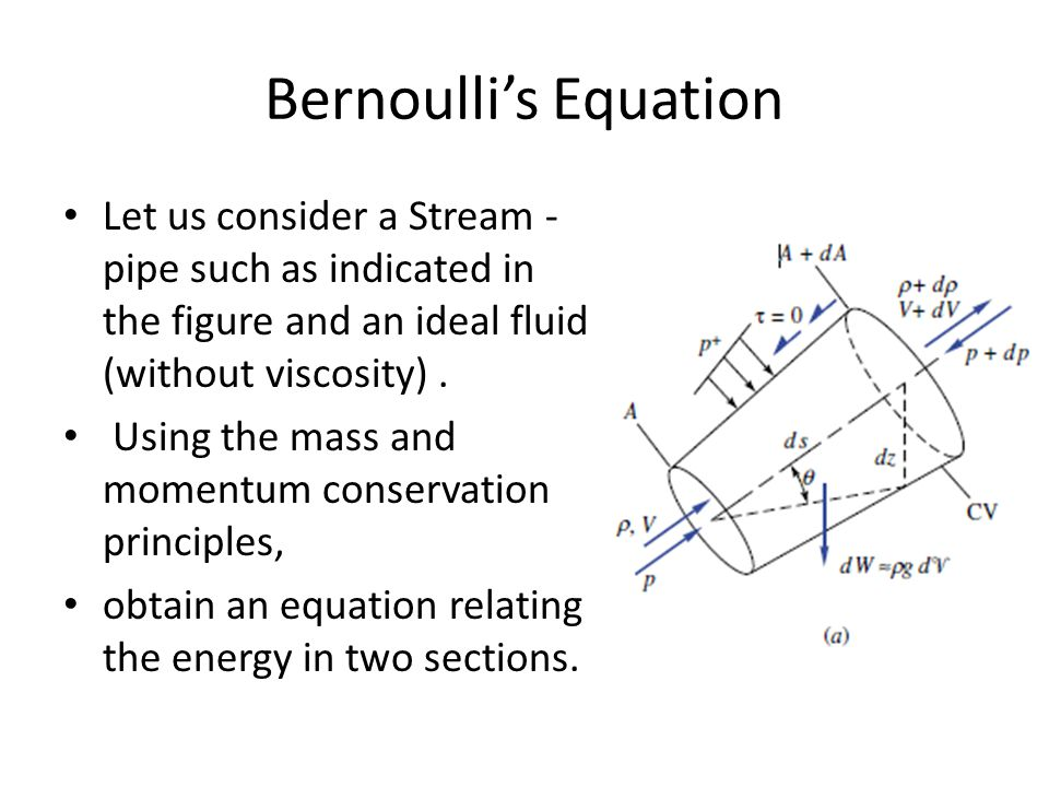 Bernoulli's Equation Let us consider a Stream - pipe such as indicated in the figure and an ideal fluid (without viscosity) .