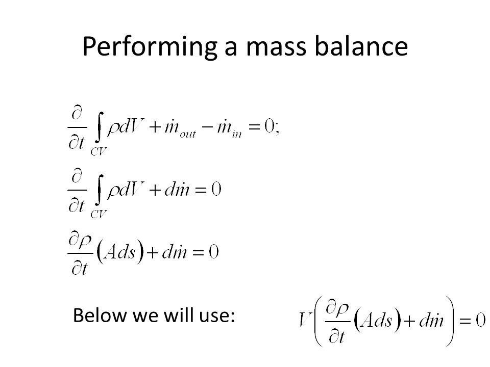 Performing a mass balance
