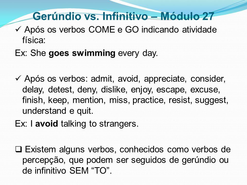 Gerúndio vs. Infinitivo – Módulo 27