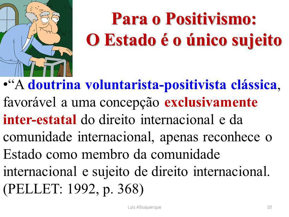 Para o Positivismo: O Estado é o único sujeito