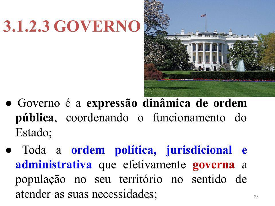 3.1.2.3 GOVERNO ● Governo é a expressão dinâmica de ordem pública, coordenando o funcionamento do Estado;