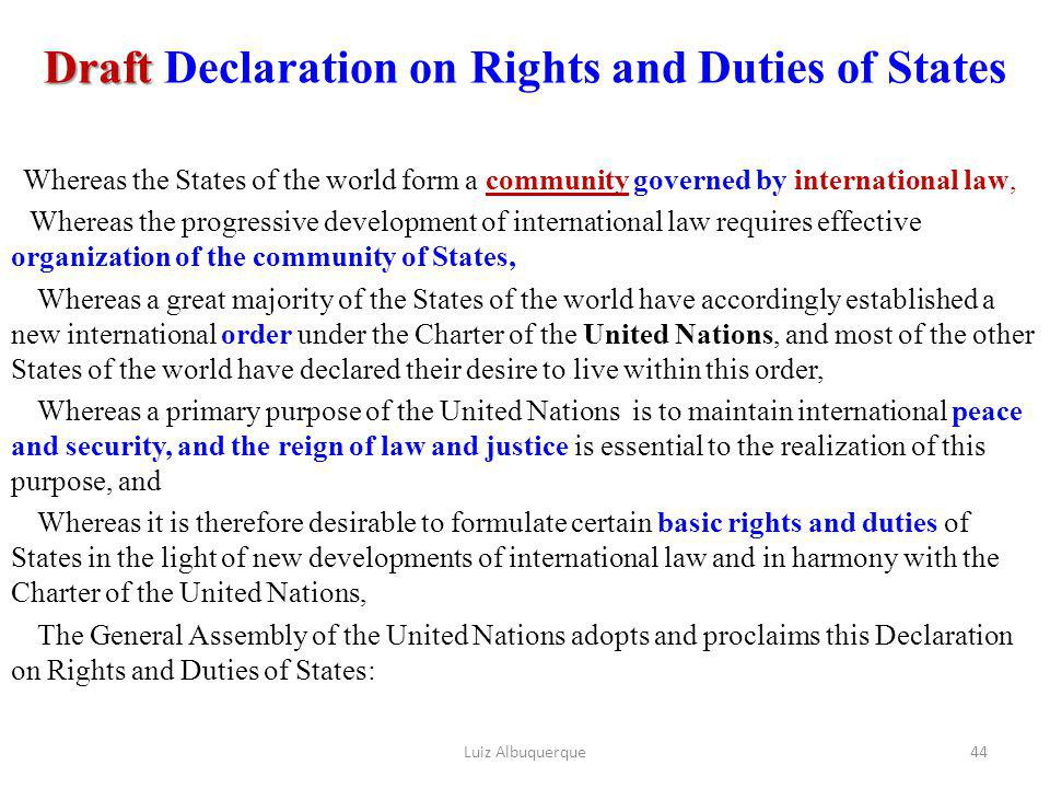 Draft Declaration on Rights and Duties of States