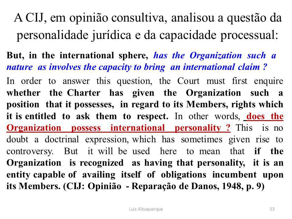A CIJ, em opinião consultiva, analisou a questão da personalidade jurídica e da capacidade processual:
