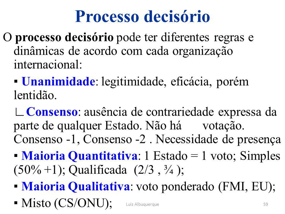 Processo decisório O processo decisório pode ter diferentes regras e dinâmicas de acordo com cada organização internacional: