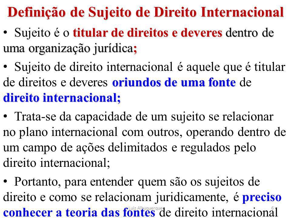 Definição de Sujeito de Direito Internacional