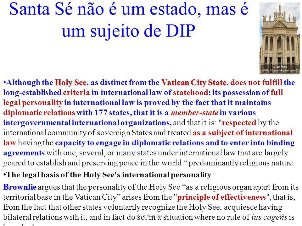 Santa Sé não é um estado, mas é um sujeito de DIP