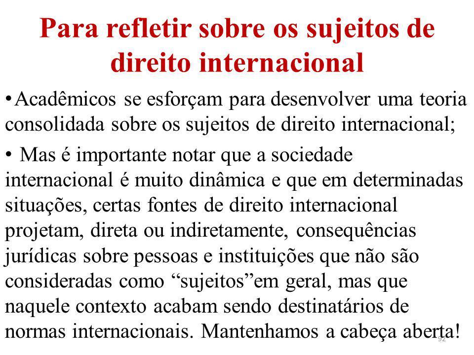 Para refletir sobre os sujeitos de direito internacional