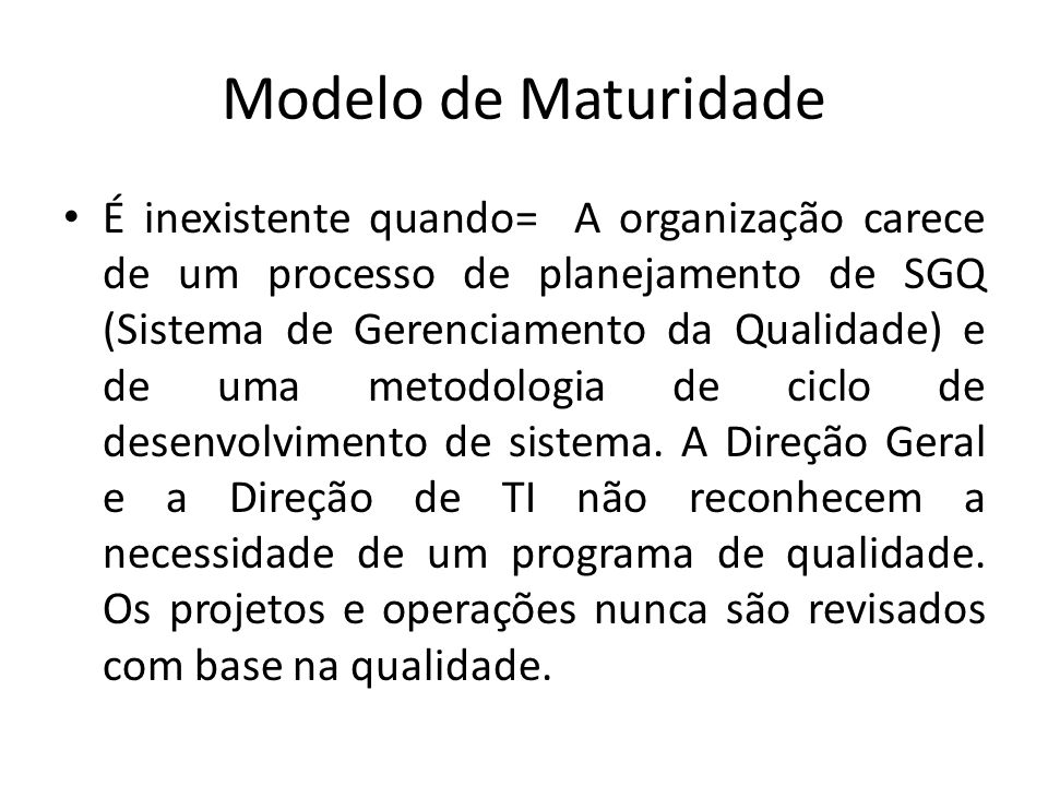 Modelo de Maturidade