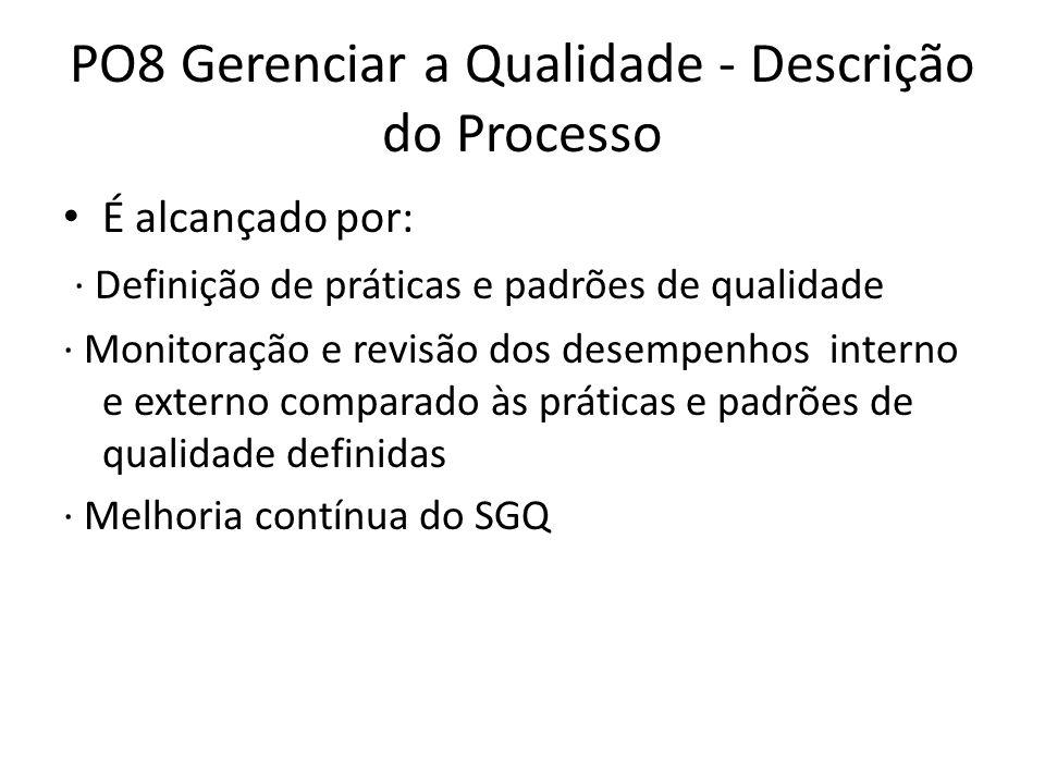 PO8 Gerenciar a Qualidade - Descrição do Processo