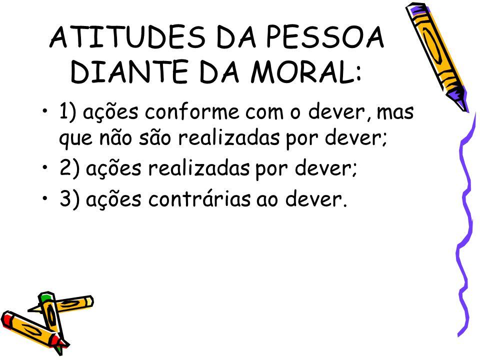 ATITUDES DA PESSOA DIANTE DA MORAL: