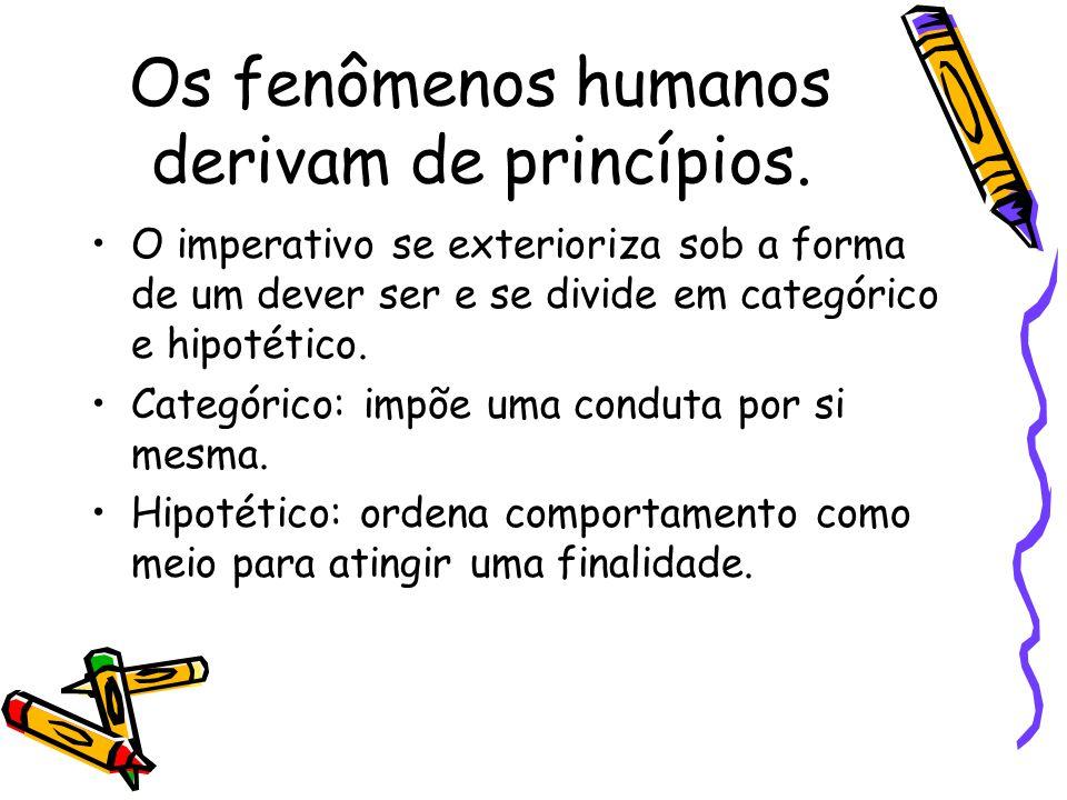 Os fenômenos humanos derivam de princípios.