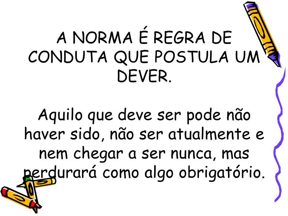 A NORMA É REGRA DE CONDUTA QUE POSTULA UM DEVER